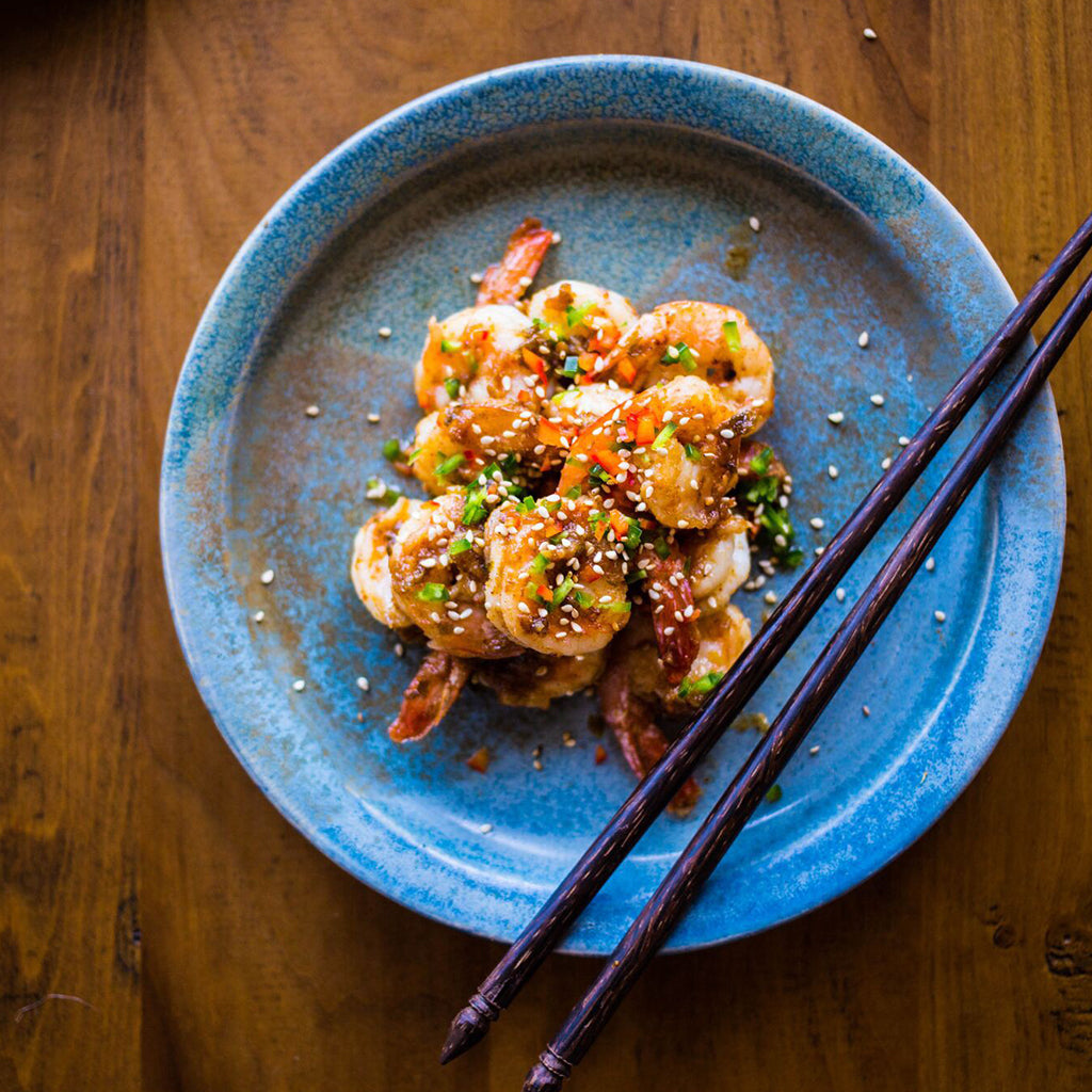 LONG-TAIL SUNSET STIR-FRIED PRAWNS