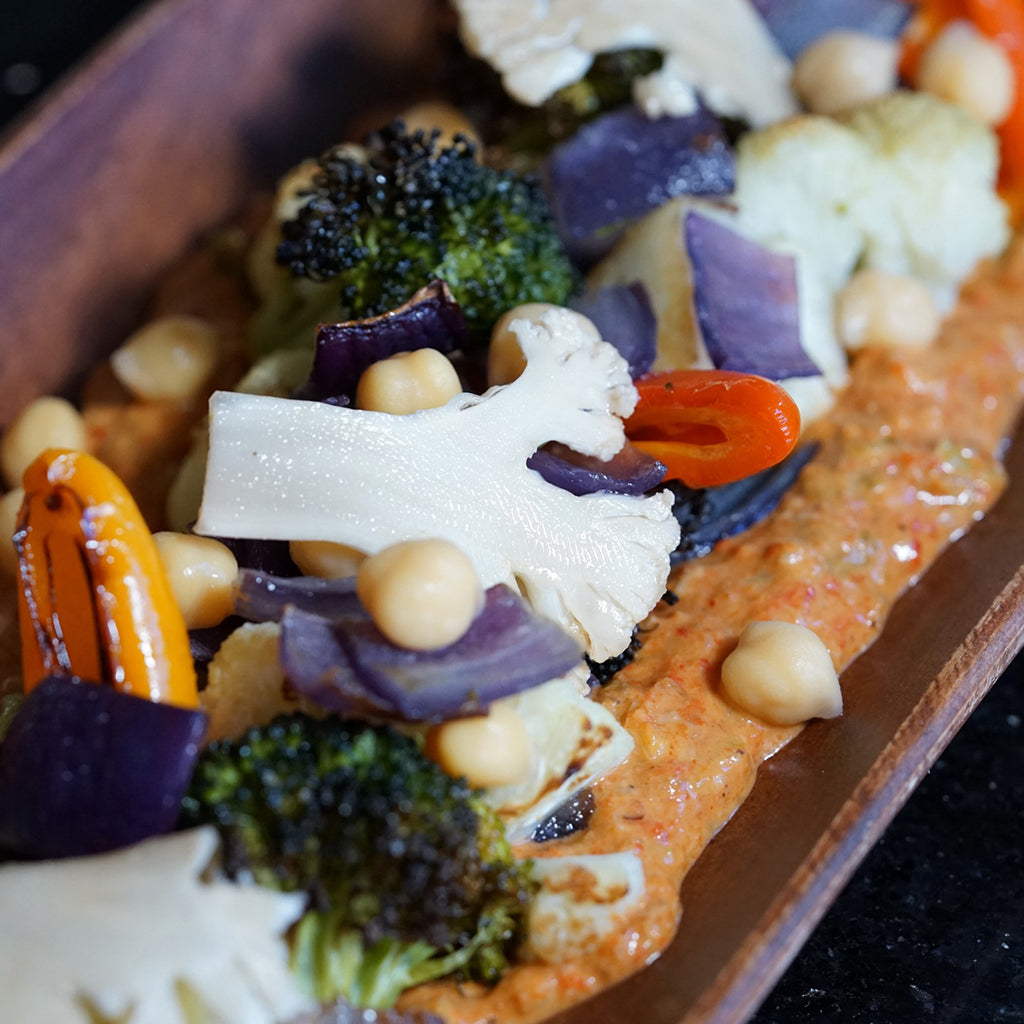 ROASTED VEGETABLES WITH MUHAMMARA SAUCE