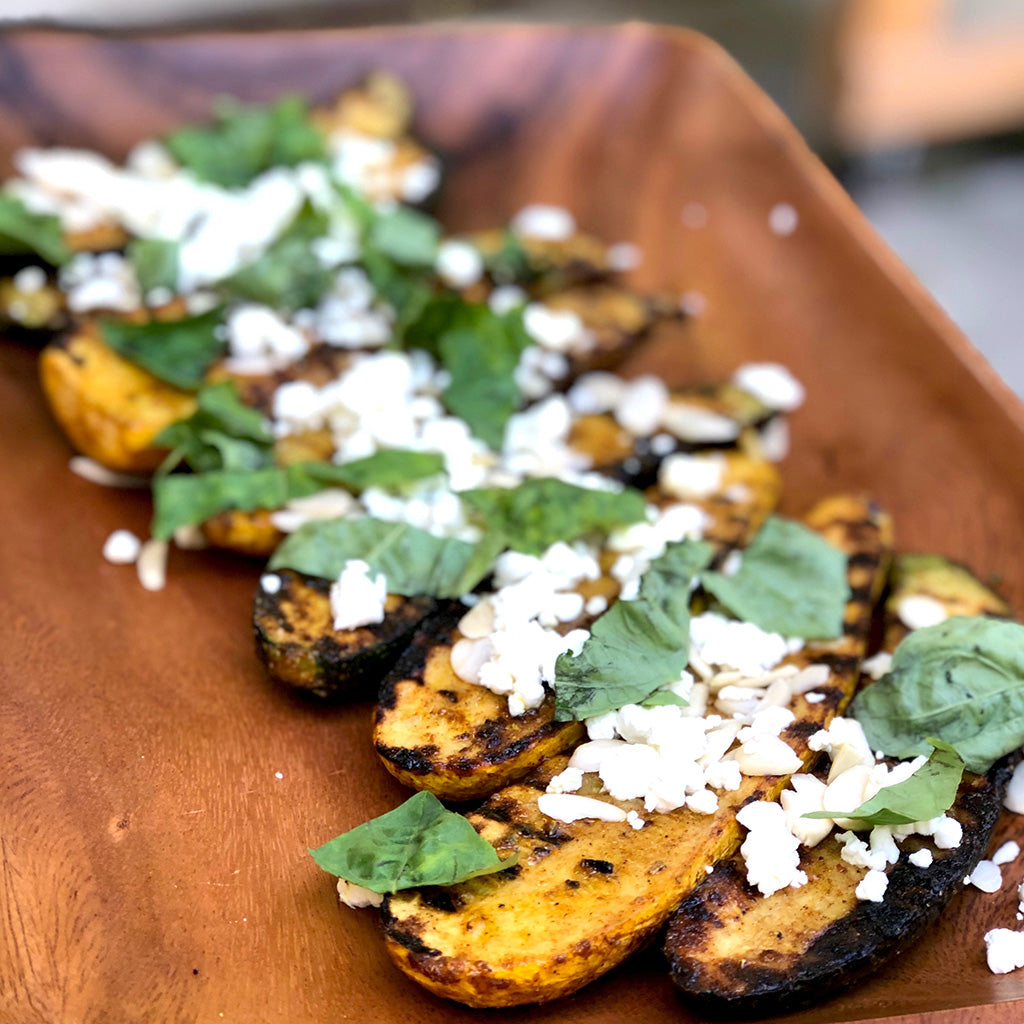 Grilled Zucchini with Almonds, Goat Cheese and Basil