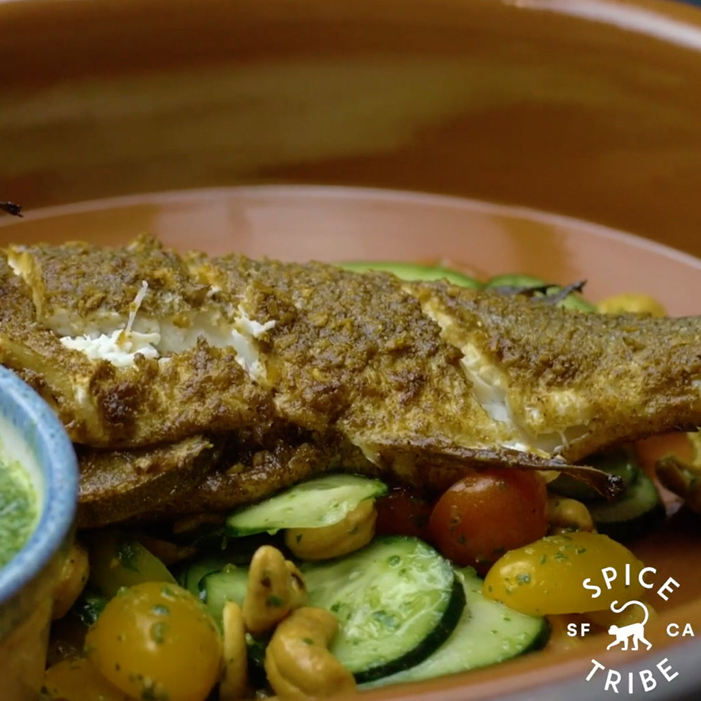 South East Asian Inspired Baked Branzino