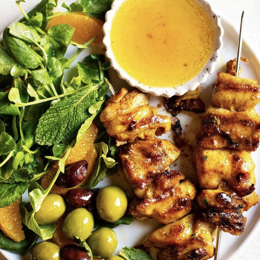 Moroccan grilled chicken skewers with orange, olive & mint salad