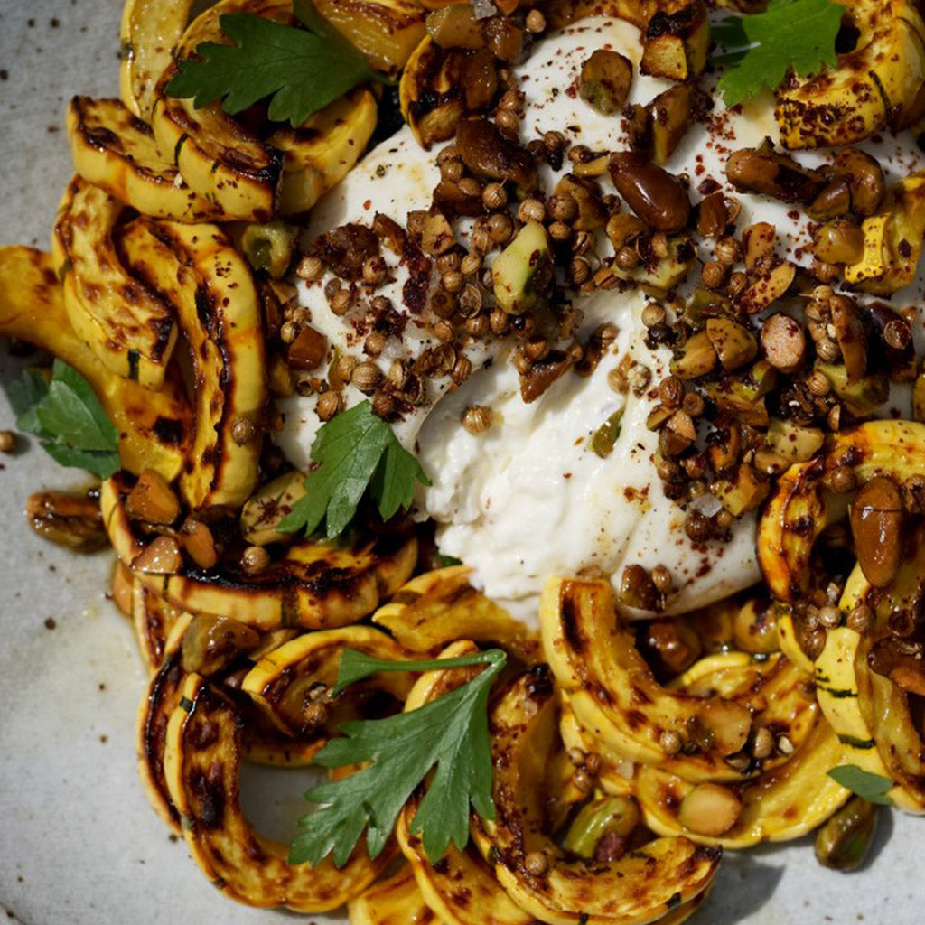 DELICATA SQUASH WITH BURRATA AND TOASTED PISTACHIOS