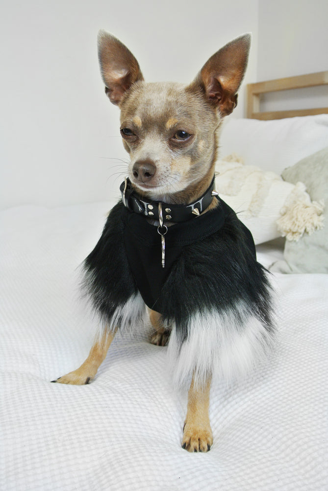 Black & Grey Faux Fur Dog Top-1 left- XXXS Only