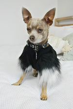 Black & Grey Faux Fur Dog Top- XXXS + XXS Only