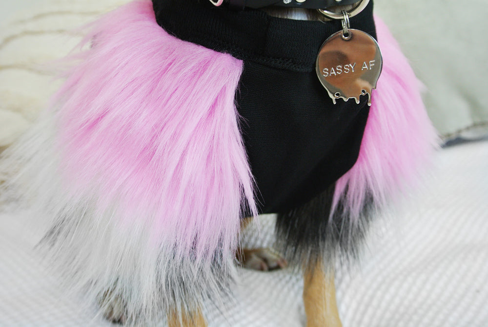 Hot Pink & Grey Faux Fur Top- Lrg Also Available