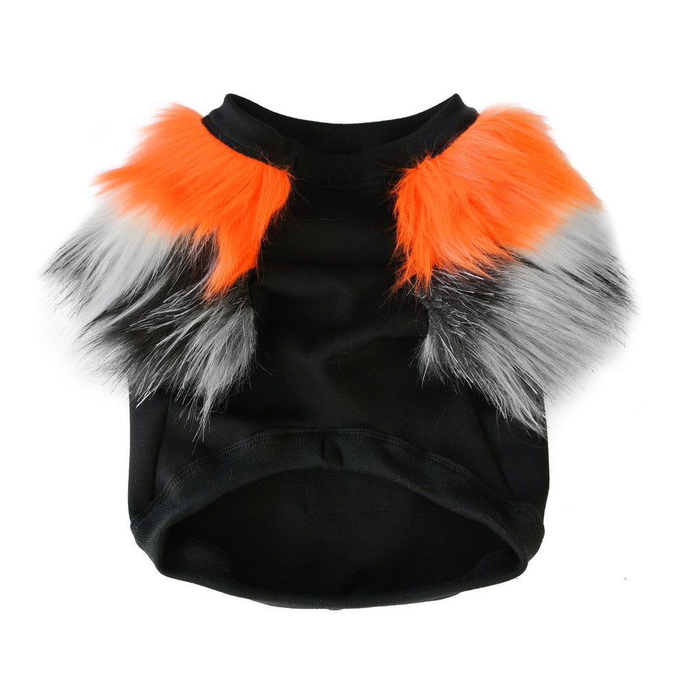 Fluro Orange & Grey Faux Fur Dog Jumper- XS ONLY