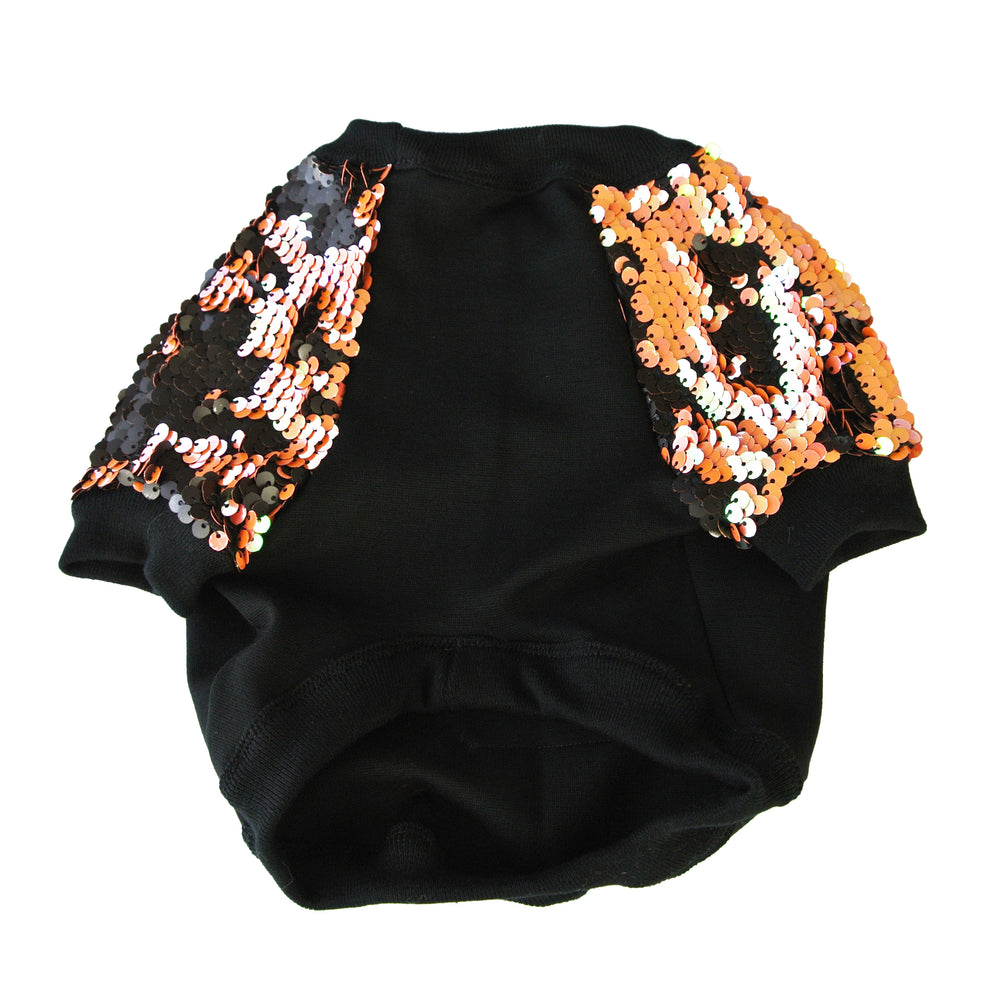 Orange & Black Sequin Dog Jumper- XXXS Left