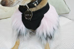 Light Pink & Grey Faux Fur Dog Jumper- XXXS