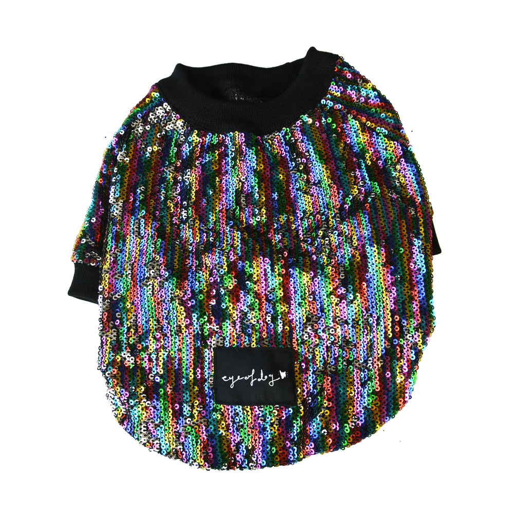 Rainbow silver Sequin Dog Top- XS  left