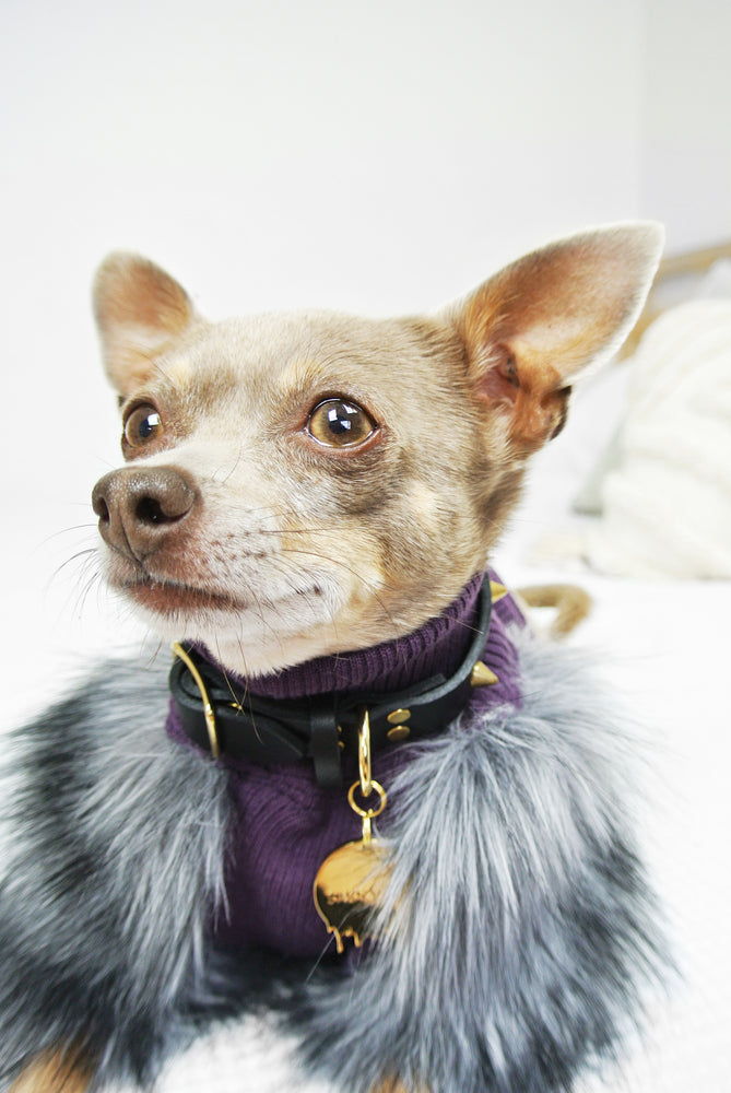 Purple & Grey Faux Fur Dog Top - XXXS, XXS + XS Only