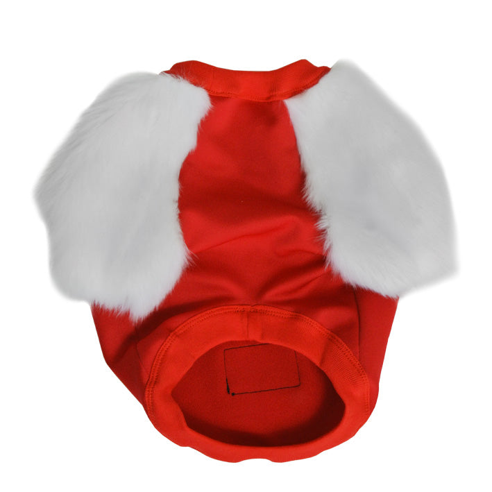 Red & White Faux Fur Dog Top-  XXS Left