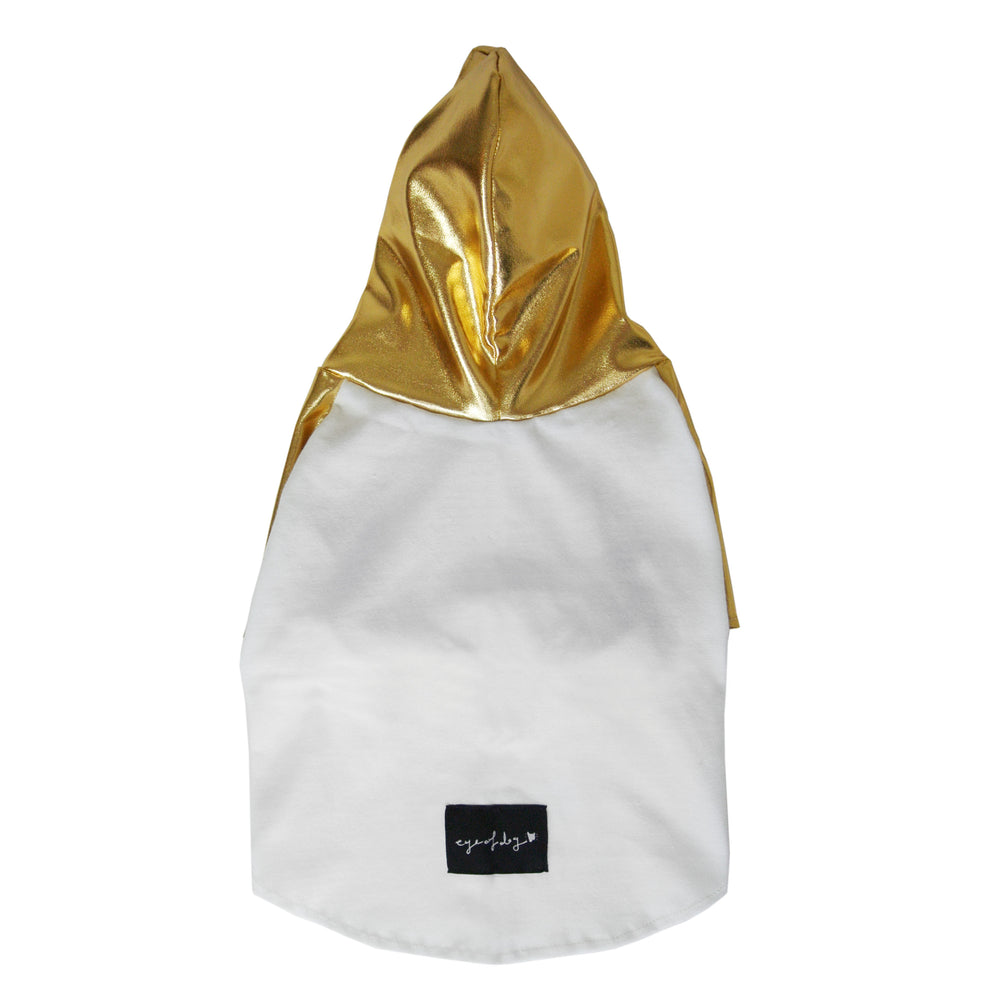 Gold Hoody Dog T-shirt- XXXS + XS left
