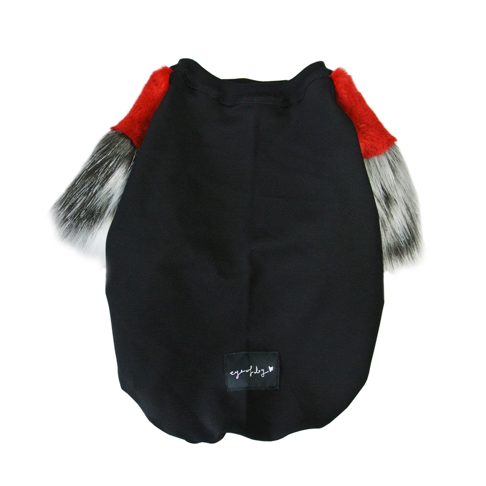 Red & Grey Faux Fur Dog Top- SML only