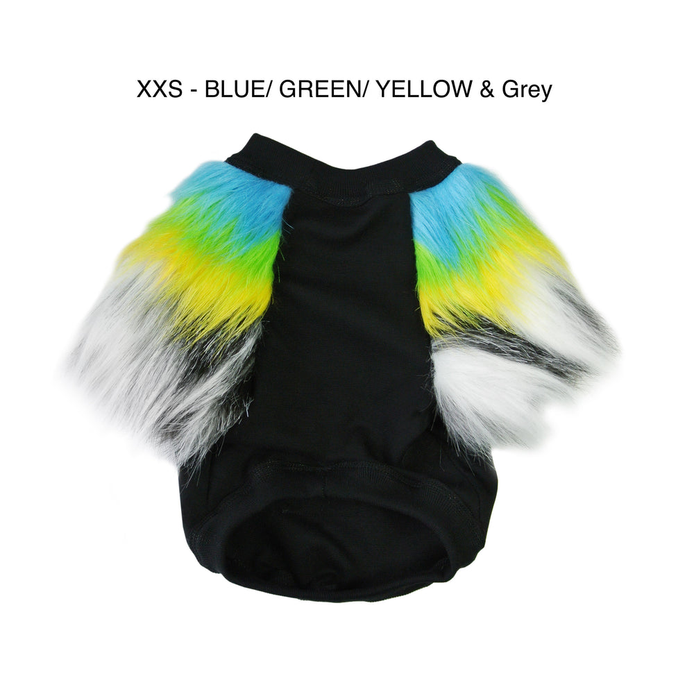 Rainbow & Grey Faux Fur Dog top. Sizing has Different colour variations- XXS
