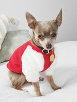 Short White & Red faux fur Dog top.- XXXS, XXS, SML, MED- Limited stock.