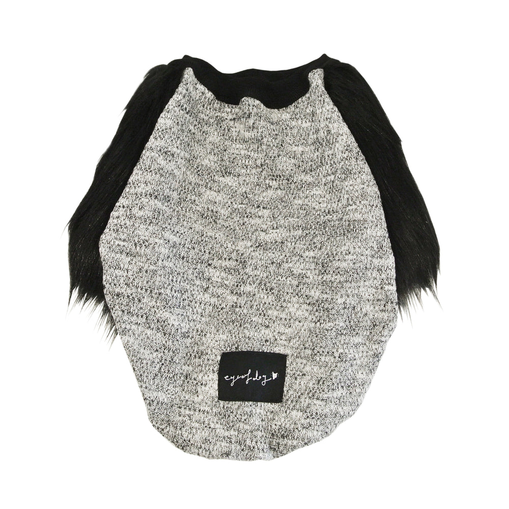 Knitted Black Faux Fur Dog Top. - XXXXS  only