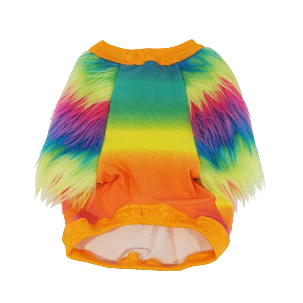 Rainbow Faux Fur Dog Top - Limited Edition
