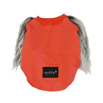 Red & Whispy Faux Fur Dog top.- XXXS & MED Left