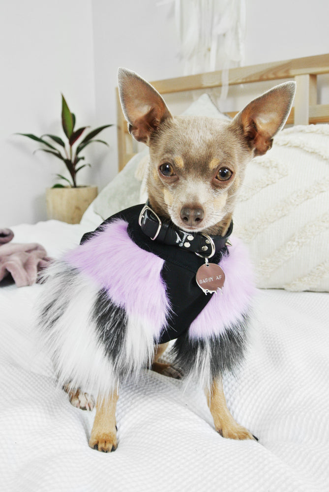 Lilac & Grey Faux Fur Dog Jumper