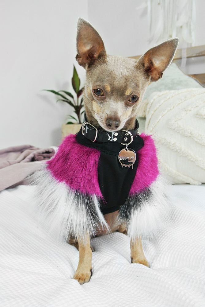Plum & Grey Faux Fur Dog Jumper
