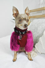 Sweet Plum Faux Fur Dog Jumper- XXXXS - XS