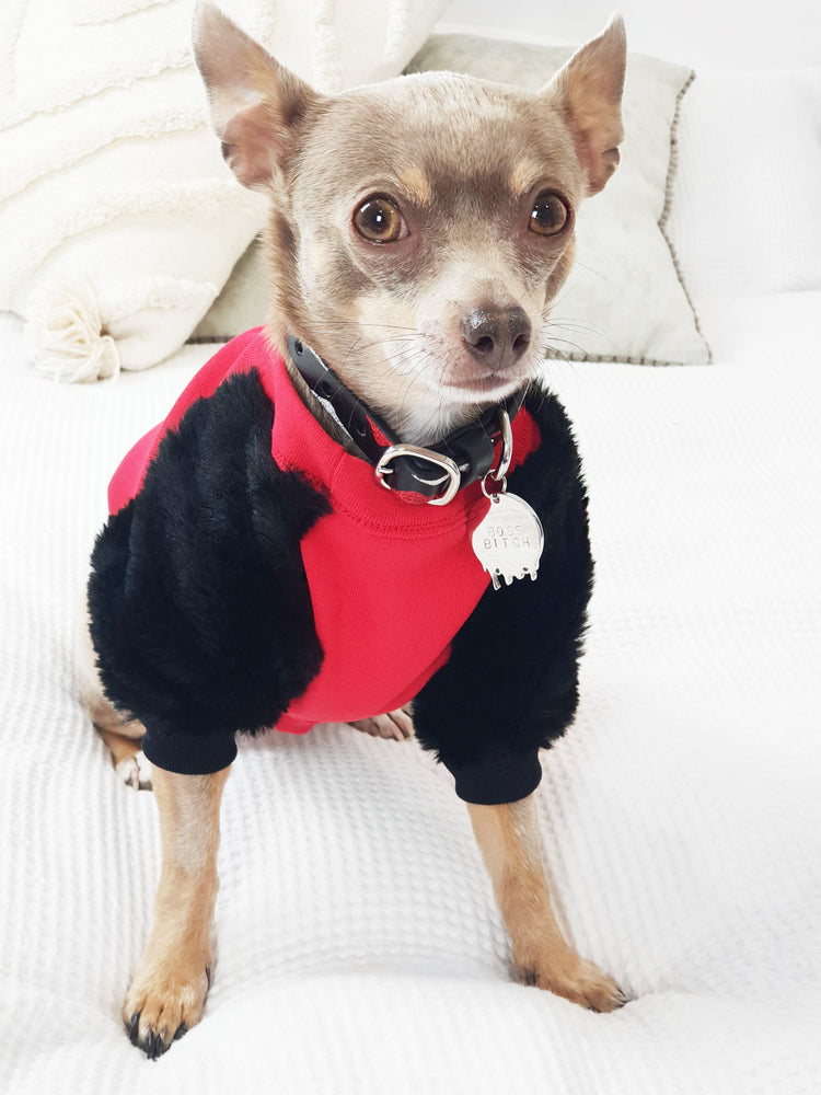Red & Black Faux Fur Dog Top - XXS Only
