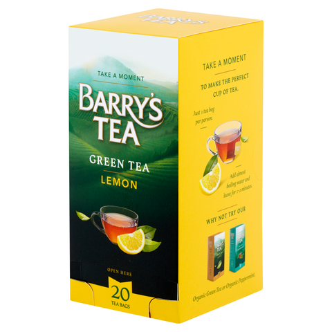 GREEN TEA WITH LEMON 20 STRING & TAG TEABAGS