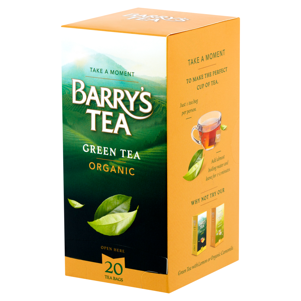 ORGANIC GREEN TEA 20 STRING & TAG TEABAGS