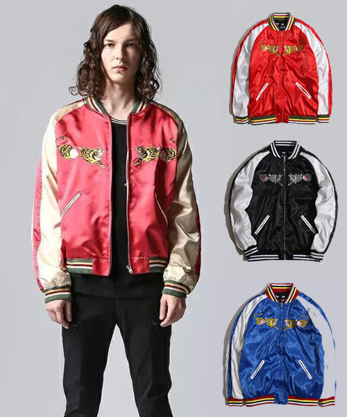 Embroidery Satin Bomber Jacket