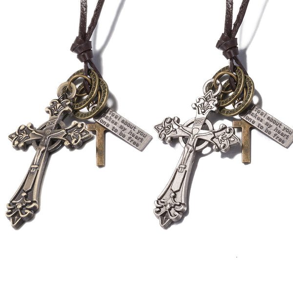 Leather String Cross Necklace