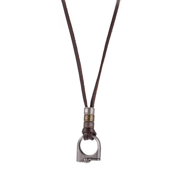 Leather String Pendant Necklace