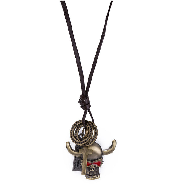 Red Eyes Cow Skull String Necklace