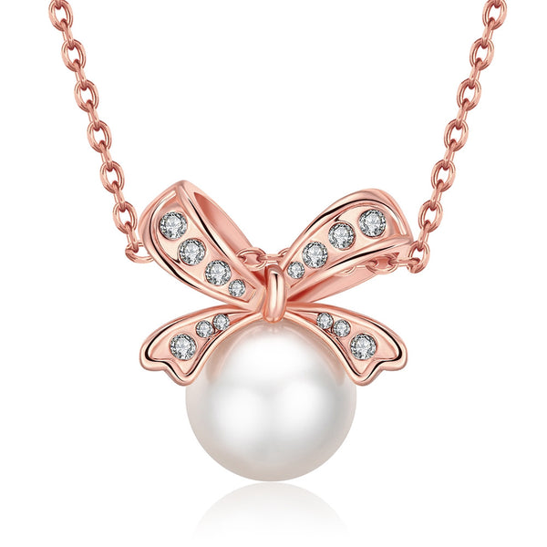 Butterfly Knot Pearl Pendant Necklace