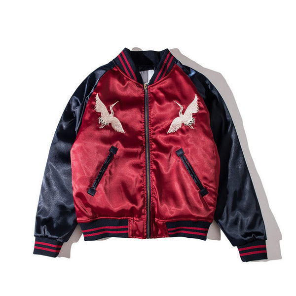 Burgundy Satin Bomber Jacket
