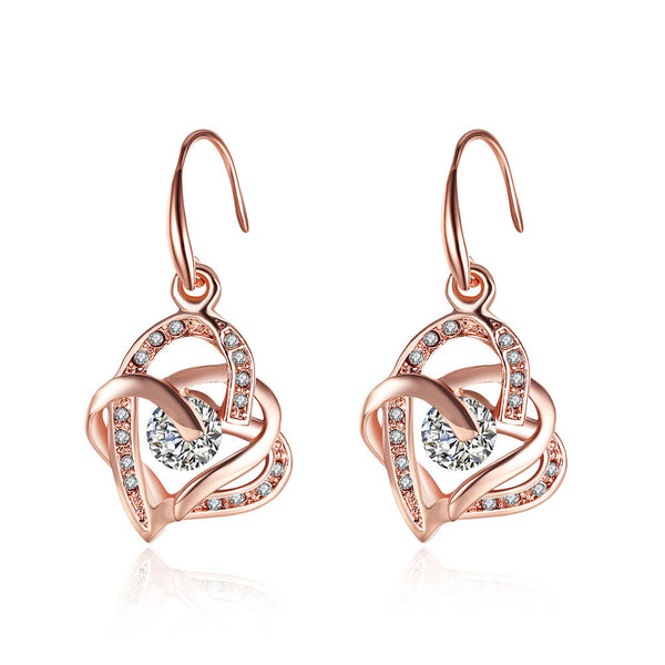 Big Drop Heart Earrings With Central Diamond