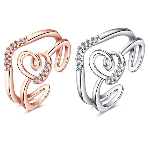 Double Lines Heart Open Ring
