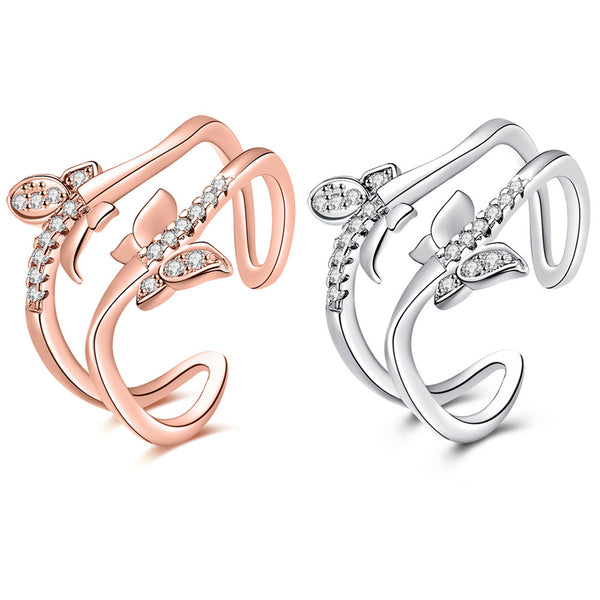 Double Butterflies Ring
