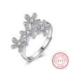 925 Silver Ring With Diamond Flower