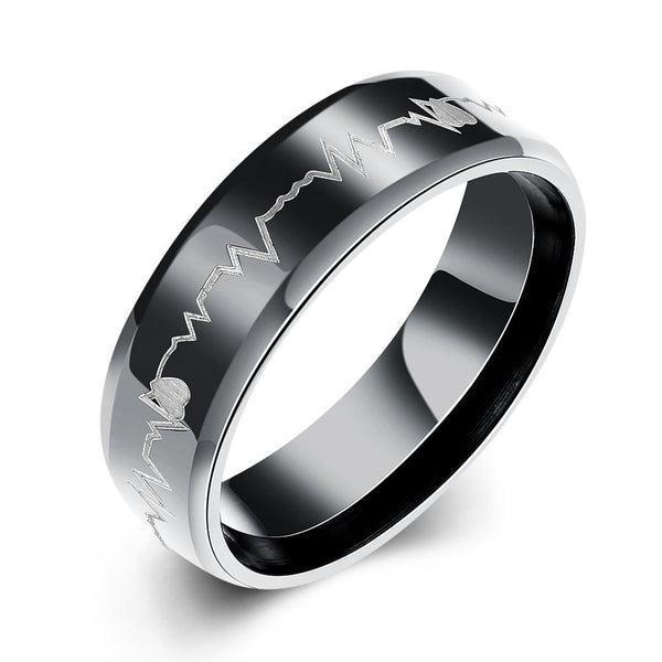Black Stainless Steel Electrocardiogram Ring