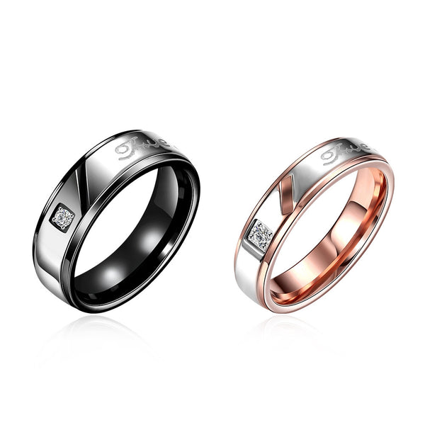 Stainless Steel Letter Couple Ring