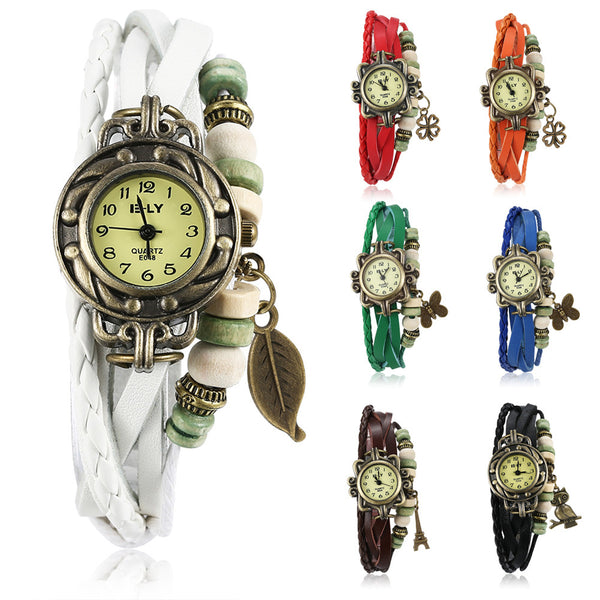 Charm Leather Bracelet Watch