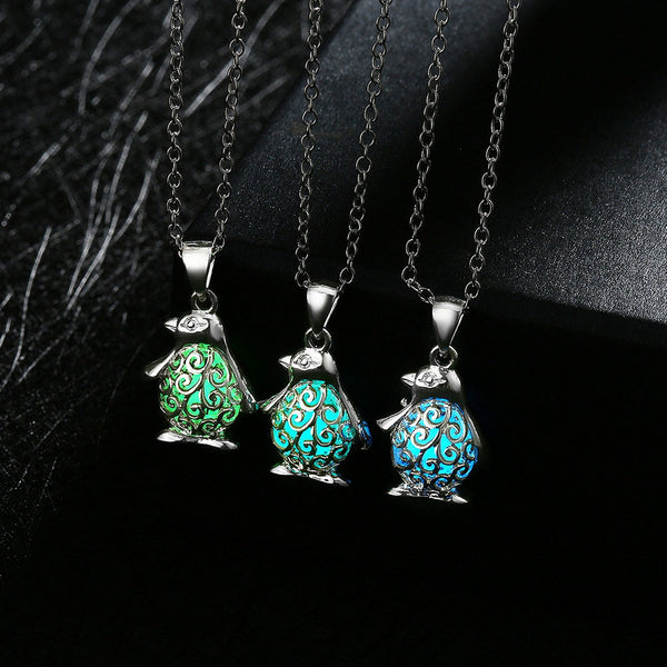 Luminous Glass Penguin Pendant Necklace