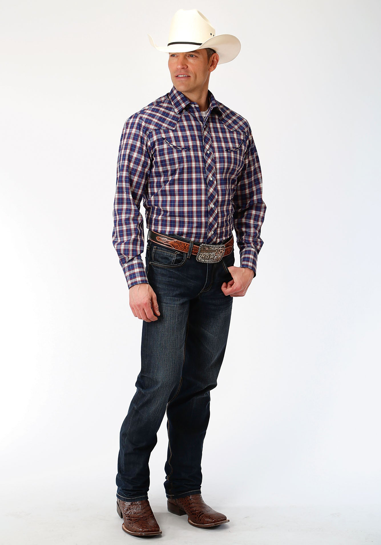 ROPER MENS BLUE 00041 NAVY/RED/TAN PLAID KARMAN SPECIAL STYLES LONG SLEEVE