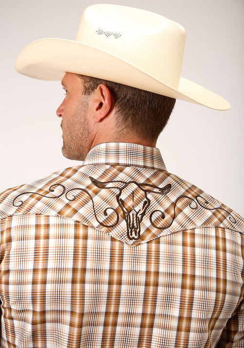 ROPER MENS BROWN 00046 BROWN/RUST/CREAM PLAID KARMAN SPECIAL STYLES LONG SLEEVE