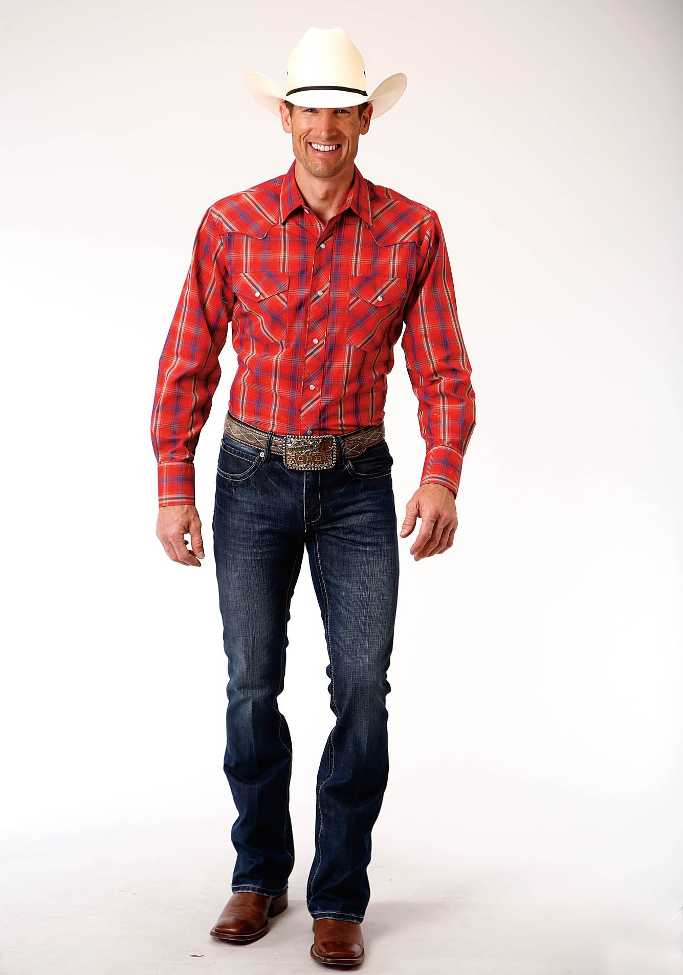 ROPER MENS RED 00210 RED, BLUE, & TAN PLAID KARMAN SPECIAL STYLES LONG SLEEVE