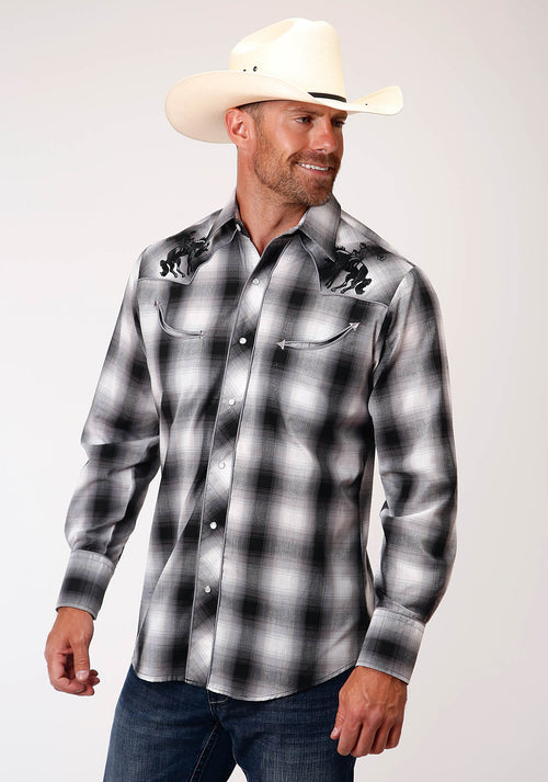 ROPER MENS BLACK 00211 BLACK, GREY, & WHITE PLAID KARMAN SPECIAL STYLES LONG SLEEVE