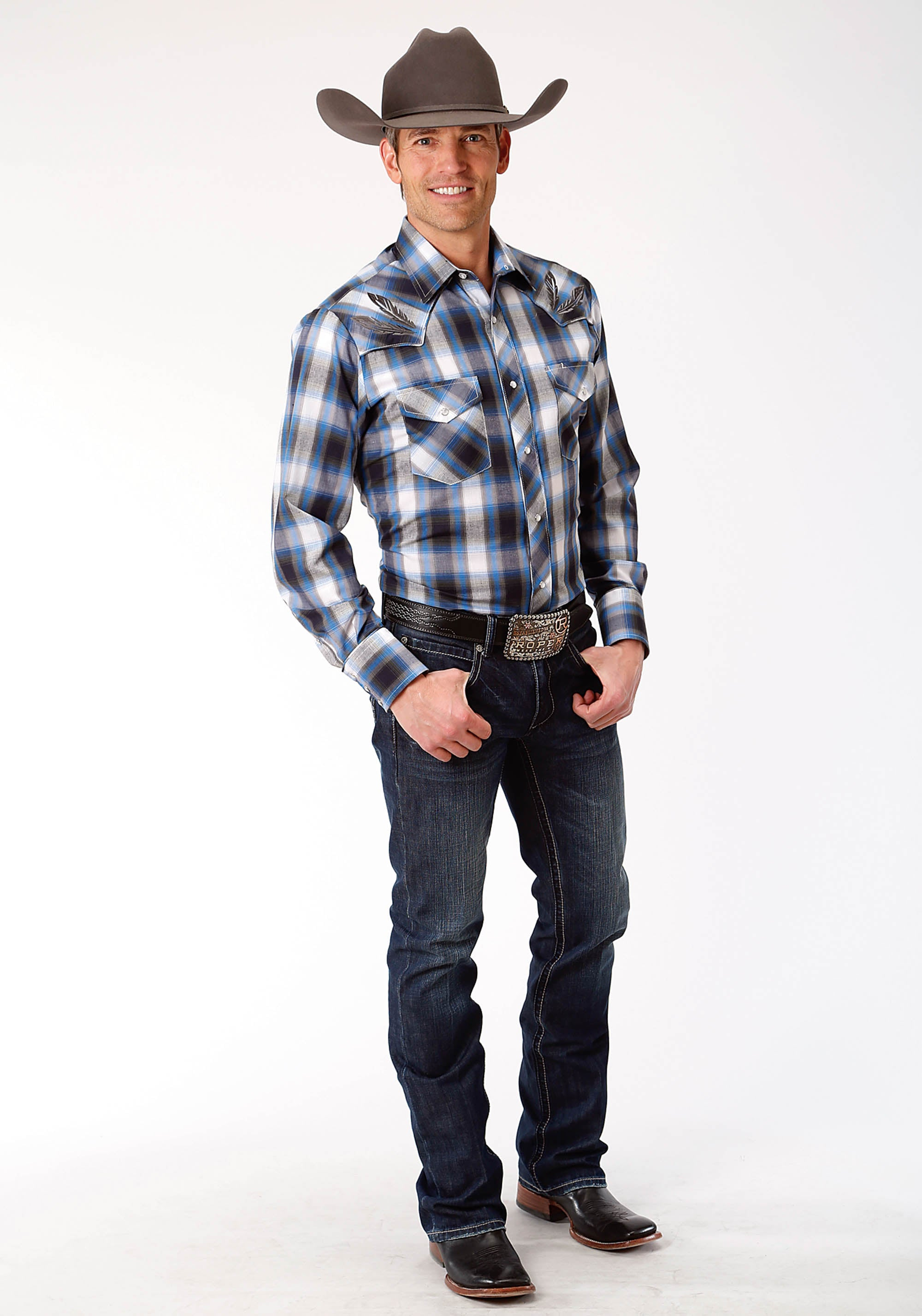 ROPER MENS BLUE 0022 SKY BLUE, NAVY, & OLIVE PLAID KARMAN SPECIAL STYLES LONG SLEEVE