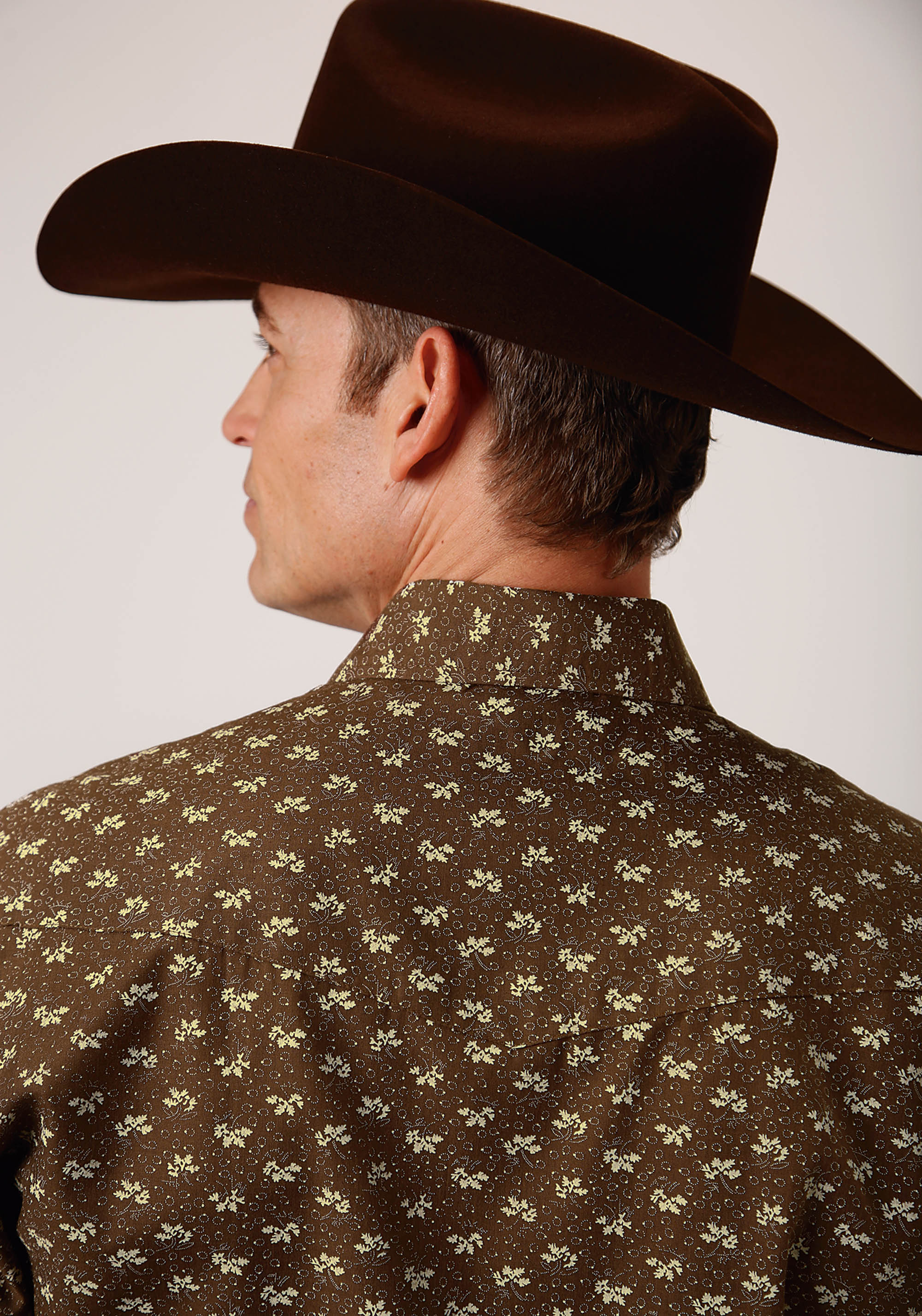 ROPER MENS BROWN 00421 BROWN & CREAM LEAF PRINT KARMAN CLASSICS- 55/45 PRINTS LONG SLEEVE
