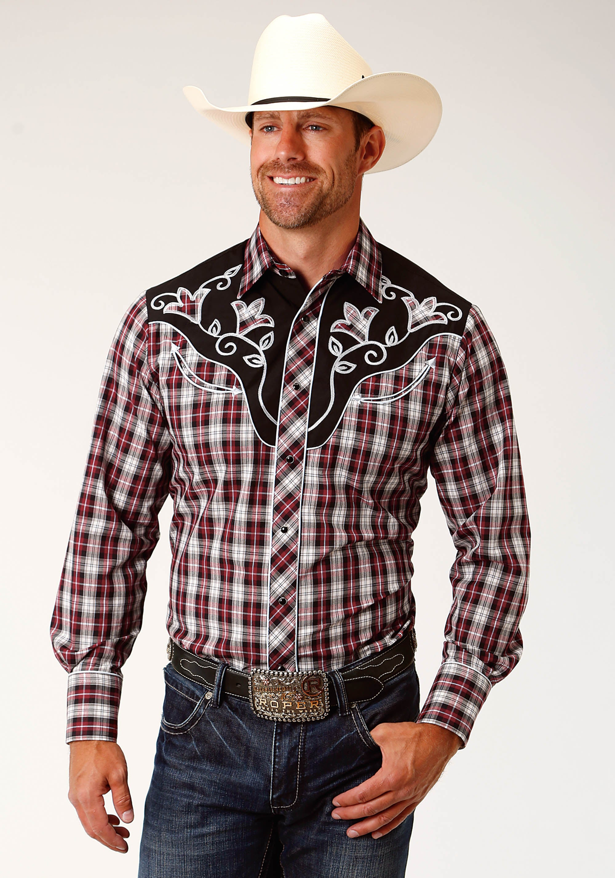 ROPER MENS RED 3661 CRANBERRY, BLACK AND WHITE KARMAN SPECIAL STYLES LONG SLEEVE