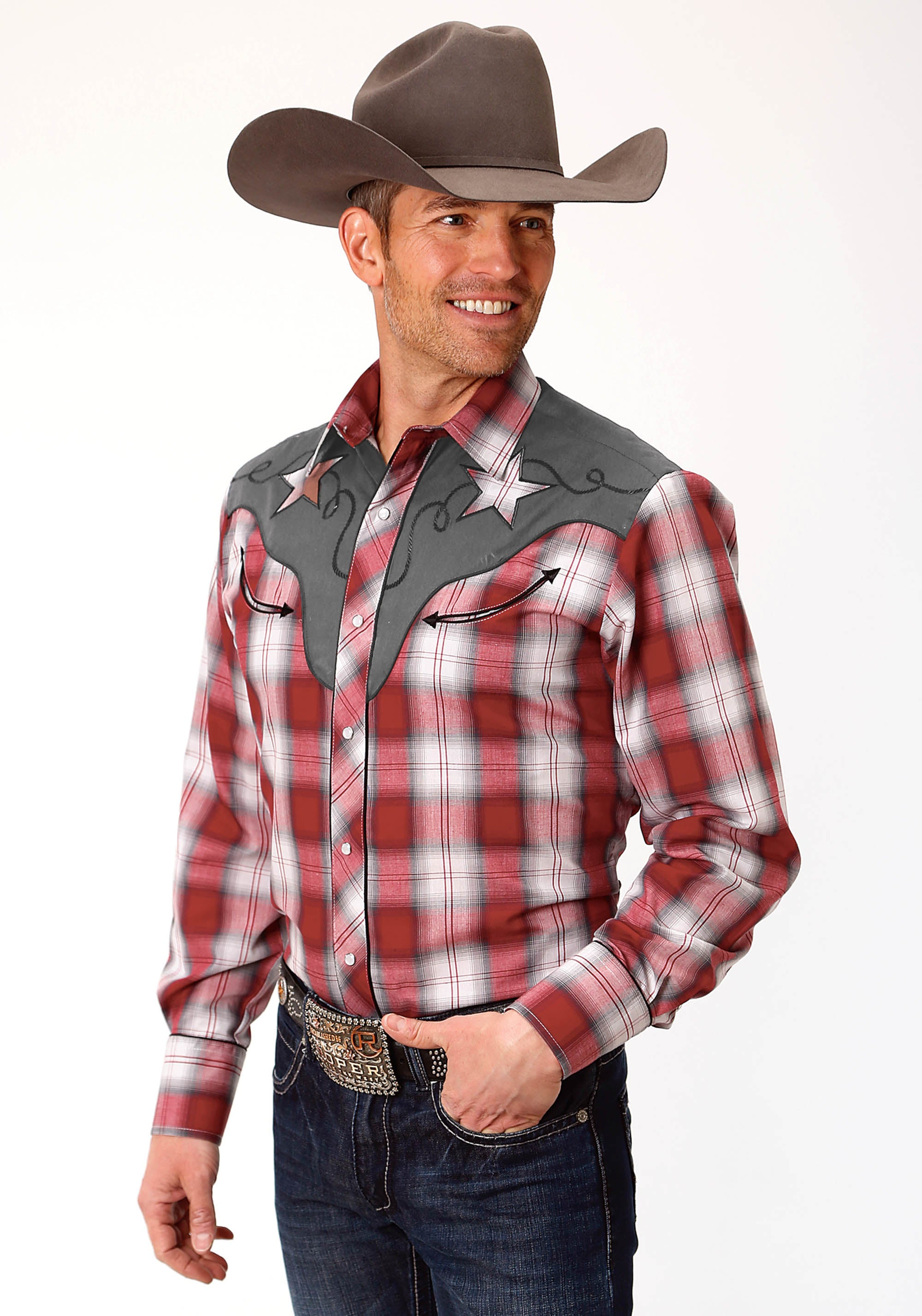 ROPER MENS RED 9910 RED, WHITE & GREY PLAID KARMAN SPECIAL STYLES LONG SLEEVE